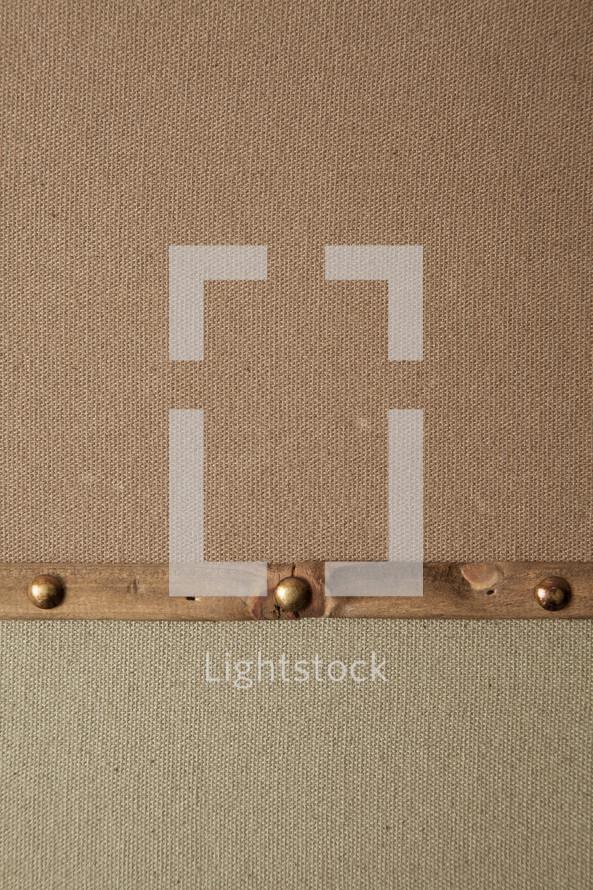 metal border on linen