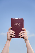 man holding a red cover Bible up to the sky