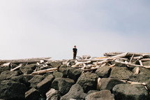 A lone man stands among boulders and driftwood.