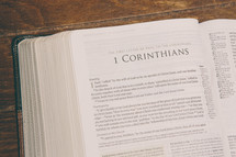 Bible opened to 1 Corinthians