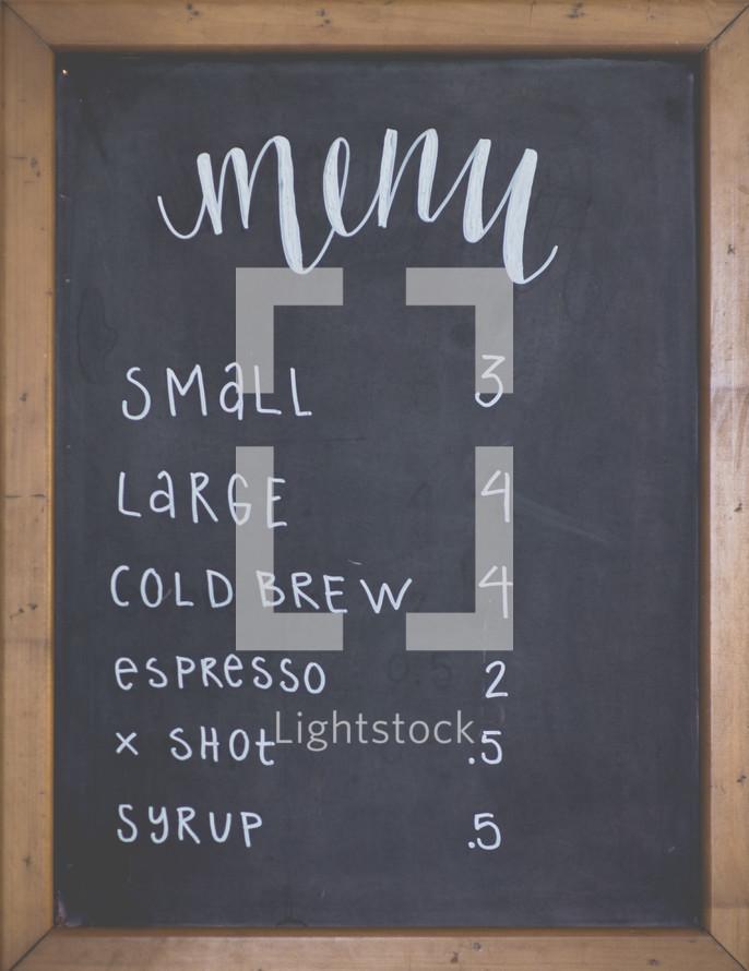 menu items at a coffee shop