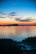 islands and shoreline at sunset
