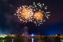 fireworks bursting in the night sky, San Juan Fireworks 2019 Badajoz Extremadura Spain
