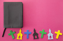 Bible and foam church and cross stickers