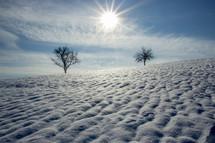 snow drifts on a hill