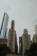 Tall city buildings.