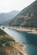 water inlet between mountains