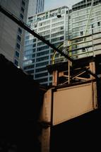 steel beams on a city building