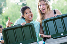 two women with coolers