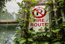Fire route sign partially covered with vines.