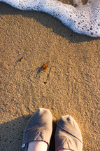 shoes standing in the sand