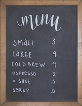 menu items at a coffee shop