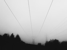 foggy sky and power lines