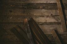 scrap wood on a wood floor