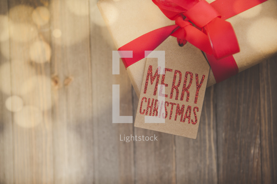 Christmas Gift Background with Copy Space