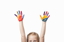 rainbow painted hands