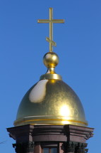 gold cross on a Russian Orthodox church steeple