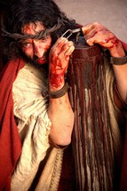 Jesus is arrested and abused by Roman soldiers