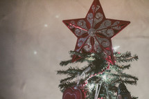 Star at the top of a Christmas tree