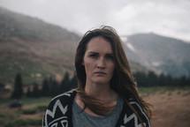 unhappy woman outdoors
