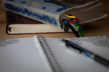 pen on the pages of a journal