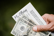 offering envelope of forty dollars in cash