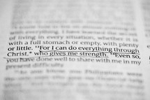 For I can do everything through Christ who gives me strength