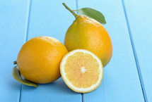 lemons on a blue table