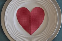 a heart on a plate