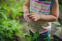 a little girl holding seeds in her hands