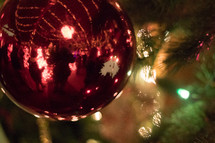 ornaments and twinkling Christmas lights