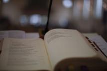 Worship books on the altar