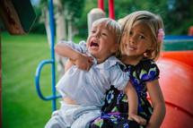 scared children on the playground