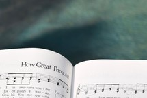 How Great Thou Art sheet music over water