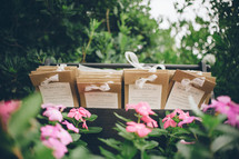 Marriage programs in the garden.