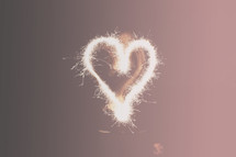 heart shape made with sparklers