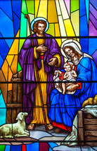 stained glass window of Mary, Joseph, and baby Jesus - nativity
