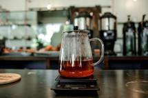 glass pot on a warmer