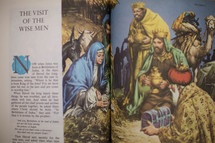 "Children''s picture Bible open to the story of ""The Visit of the Wise Men."""
