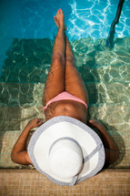 a woman relaxing in a pool
