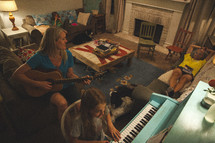 A family playing music together in their living room.