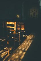 sunlight shining on a wood floor in a restaurant in Venice
