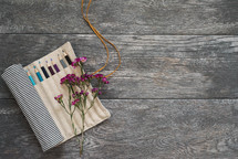 colored pencils, bag, art supplies, wildflowers