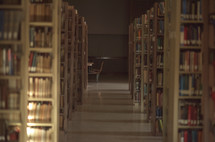 books on shelves in a library