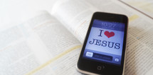 I LOVE JESUS on an iPhone