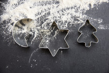 cookie cutters and flour