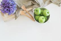 apples, fruit, bowl, house plant, pitcher, tray, linen, wood, cauldron