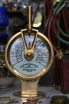 Brass ship's telegraph set on stop