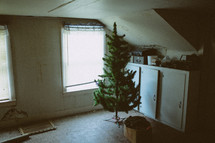stored Christmas tree in an attic