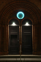 illuminated doorway